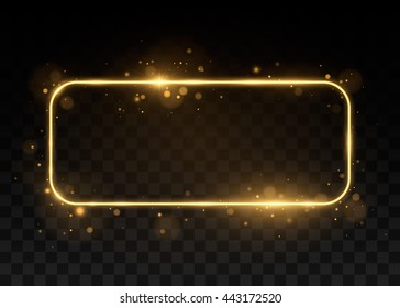 Vector golden frame with lights effects. Shining rectangle banner. Isolated on black transparent background. Vector illustration, eps 10.