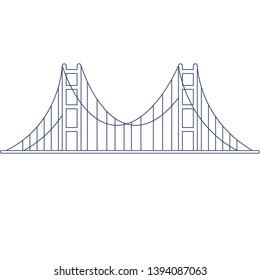 Vector Golden Gate Bridge for coloring. Illustration for children coloring book