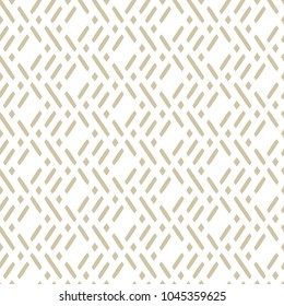 Vector golden geometric seamless pattern in traditional style. Ethnic motif ornament with diagonal lines, rhombuses, mesh, grid. Modern abstract white and beige texture. Luxury background design