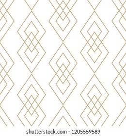 Vector golden geometric texture. Elegant seamless pattern with diamonds, rhombuses, thin lines. Abstract white and gold graphic ornament. Art deco style. Trendy linear background. Luxury repeat design