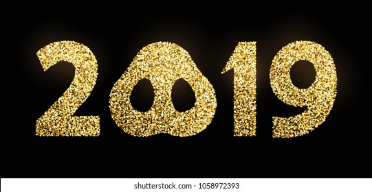 Vector golden glitter 2019 numbers with zero as pig nose new year template for calendar page or greeting card typography poster