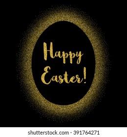 "Vector golden glitter frame with hand drawn title ""Happy Easter"". Egg frame."