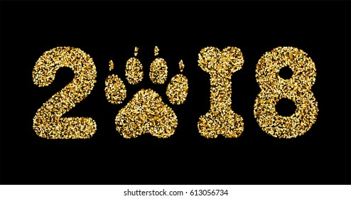 Vector golden glitter numbers 2018 with zero as dog paw print and one in bone shape next new year, calendar front page design
