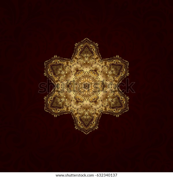 Vector golden glitter snowflake design decorative Christmas element on a brown background.