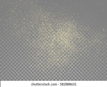 Vector golden glitter wave abstract sparkling particles light on transparent background.