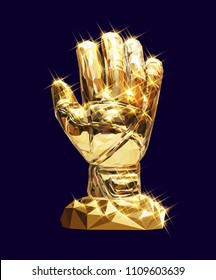 vector golden glove illustration soccer football geometric triangle low-poly style concept  championship pattern