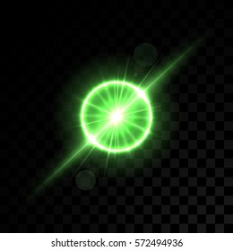 Vector golden green lights on transparent background. Special effect light rays. Spark, star burst, flash. Spotlight flare. Illumination.