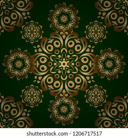 Vector golden grid seamless pattern with abstract flowers and stars on a green background. Orient textile print for bed linen, jacket, package design, fabric and fashion concepts.