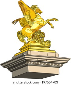 vector golden horse on a pedestal