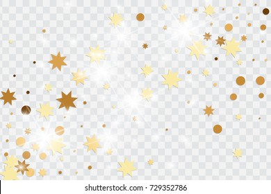 Vector golden isolated confetti on transparent backdrop. Falling stars, tinsels and confetti background. Minimalistic geometrical dots and ribbons. Flat glitter. Celebration card pattern.