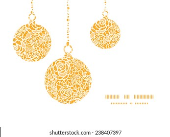 Vector golden lace roses Christmas ornaments silhouettes pattern frame card template