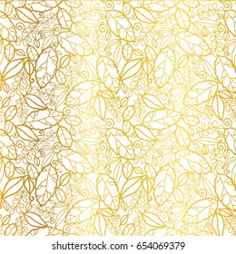 Vector golden leaves texture seamless repeat pattern background. Great for spring and summer fabric, scrapbooking, wallpaper, fall wedding projects. Surface pattern design.