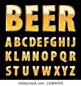 vector golden letters with beer texture