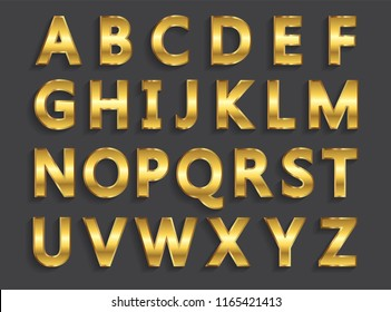 Vector golden letters.Set of gold alphabet.