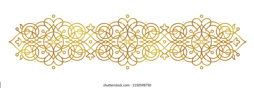 Vector golden line art element for design template. Luxury ornament in Eastern style. Premium floral illustration. Ornate decoration for invitation, card, thank you message, label, badge, tag.