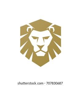 Vector Golden Lion Single Shield Logo