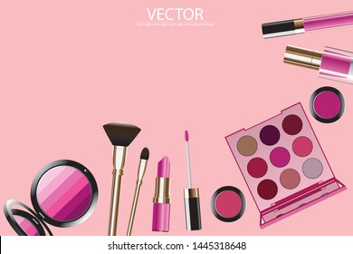 vector golden lipstick and golden cosmatic product on pink background.make up product.cosmetic product
