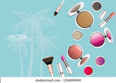 vector golden lipstick and white cosmatic product on light blue background.make up product.cosmetic product.summer concept