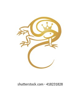 vector golden lizard logo isolated on white background