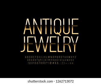Vector Golden logo Antique Jewelry with Elegant Alphabet. Set of thin luxury Letters, Numbers and Symbols. Chic Font.