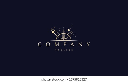 Vector golden logo on which an abstract image of a soaring rocket against the background of stars and planets.