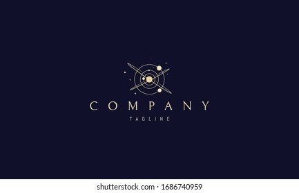 Vector golden logo on which an abstract image of space and planets.