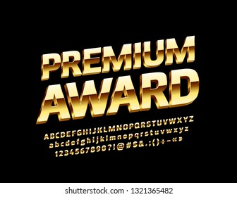 Vector Golden logo Premium Award with 3D luxury Font. Decorative elite Alphabet Letters, Numbers and Symbols.