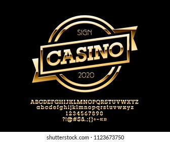 Vector Golden Logo with text Casino. Set of Chic Alphabet Letters, Numbers and Punctuation symbols.