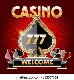 Vector golden logotype for Casino