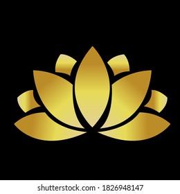 Vector golden lotus flower shape logo. Lotus logo icon design illustration template for logo, business card