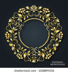 Vector golden monogram. Luxurious decorative frame. Wedding invitation. Elegant lines of calligraphic ornament. Dark background. Business sign, identity for hotel, restaurant, heraldic, boutique, jewe