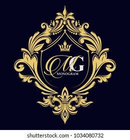 Vector golden monogram. Luxurious decorative frame. Wedding invitation. Elegant lines of calligraphic ornament. Dark background. Business sign, identity for hotel, restaurant, heraldic, boutique