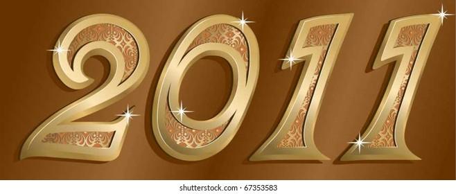 vector golden new year card