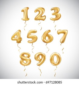 vector Golden number 1, 2, 3, 4, 5, 6, 7, 8, 9, 0 metallic balloon. Party decoration golden balloons. Anniversary sign for happy holiday, celebration, birthday, carnival, new year. art