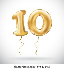 vector Golden number 10 ten metallic balloon. Party decoration golden balloons. Anniversary sign for happy holiday, celebration, birthday, carnival, new year. art