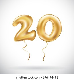 vector Golden number 20 twenty metallic balloon. Party decoration golden balloons. Anniversary sign for happy holiday, celebration, birthday, carnival, new year. art