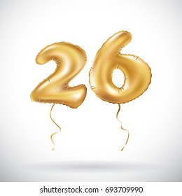 vector Golden number 26 twenty six metallic balloon. Party decoration golden balloons. Anniversary sign for happy holiday, celebration, birthday, carnival, new year. art