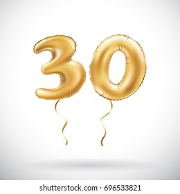 vector Golden number 30 thirty metallic balloon. Party decoration golden balloons. Anniversary sign for happy holiday, celebration, birthday, carnival, new year. art