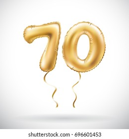 vector Golden number 70 seventy metallic balloon. Party decoration golden balloons. Anniversary sign for happy holiday, celebration, birthday, carnival, new year. art