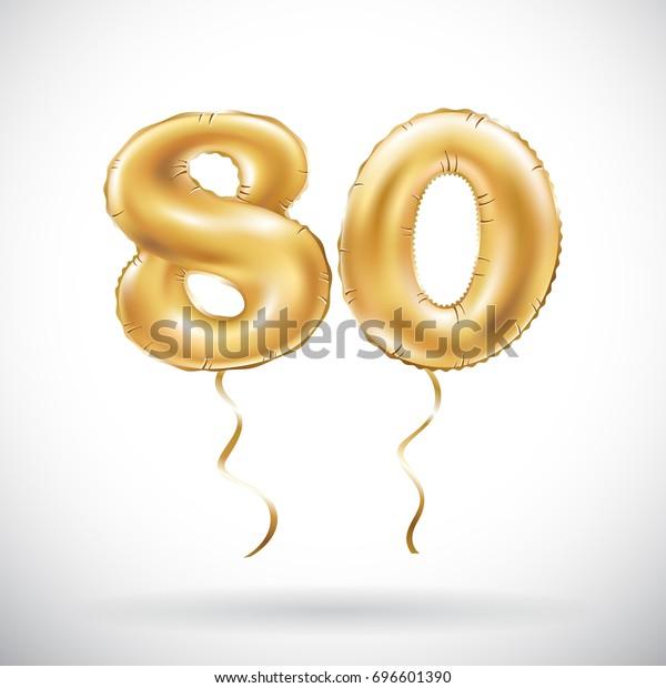 Vektor Golden Zahl 80 Achtzig Ballon Stock Vektorgrafik