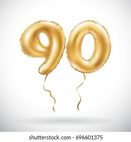 vector Golden number 90 ninety metallic balloon. Party decoration golden balloons. Anniversary sign for happy holiday, celebration, birthday, carnival, new year. art