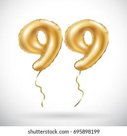 Vector Golden Number 99 Ninety Nine Metallic Balloon Party Decoration Balloons Anniversary Sign