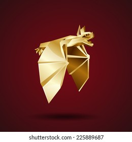vector golden origami bat