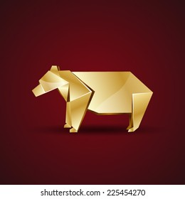 vector golden origami bear