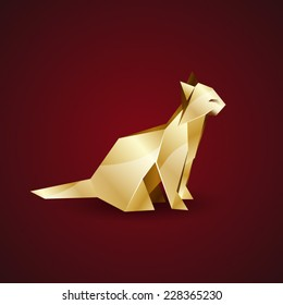 vector golden origami cat