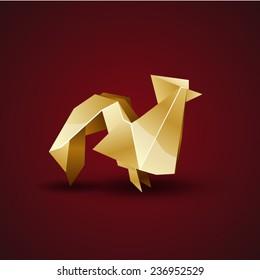 vector golden origami cock
