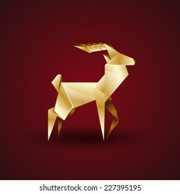 vector golden origami deer
