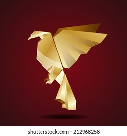 vector golden origami eagle