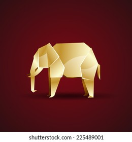 vector golden origami elephant