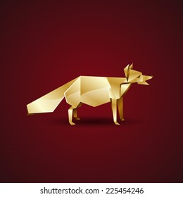 vector golden origami fox